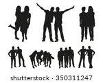 Friends silhouettes | Shutterstock vector #350311247