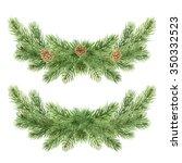watercolor wreath of conifer...   Shutterstock . vector #350332523