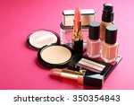 cosmetics on pink background | Shutterstock . vector #350354843