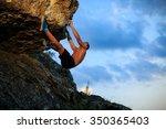 muscular climber climbs on a... | Shutterstock . vector #350365403