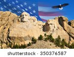 mount rushmore with american... | Shutterstock . vector #350376587