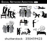 social network addiction . a... | Shutterstock .eps vector #350459423