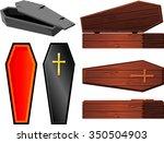 vintage coffin set halloween...   Shutterstock .eps vector #350504903