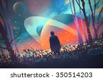 man standing alone in forest... | Shutterstock . vector #350514203
