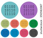color binary code flat icon set ...