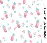 seamless baby pattern.cute... | Shutterstock .eps vector #350594117