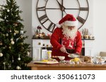 santa claus cooking at home... | Shutterstock . vector #350611073