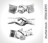 people shaking hands. set of... | Shutterstock .eps vector #350618393