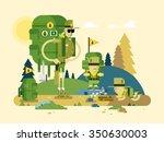 group scout cartoon. activity... | Shutterstock .eps vector #350630003