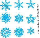 collection of vector snowflakes ... | Shutterstock .eps vector #350632853