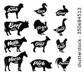 Farm Animals Icon Set. Butcher...