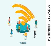 public wi fi zone wireless... | Shutterstock .eps vector #350692703
