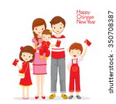 family happy with red envelopes ... | Shutterstock .eps vector #350708387