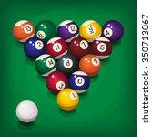 colorful billiard balls in... | Shutterstock .eps vector #350713067