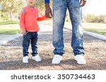 cute father and son playing... | Shutterstock . vector #350734463