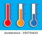 thermometers icon set on... | Shutterstock .eps vector #350754653