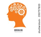human head with brain with... | Shutterstock .eps vector #350757833