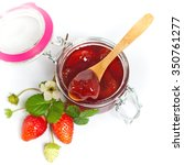 strawberry jam on white... | Shutterstock . vector #350761277