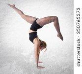 blonde ballerina dancing | Shutterstock . vector #350765273