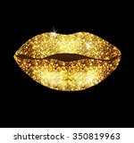 beautiful lips with gold... | Shutterstock .eps vector #350819963