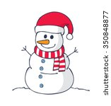 Cartoon Snowman Isolated On...