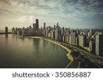 chicago skyline aerial view... | Shutterstock . vector #350856887