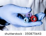 test tubes in hand  palm ... | Shutterstock . vector #350875643