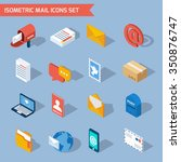 isometric mail icons set with... | Shutterstock .eps vector #350876747