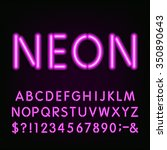 alphabet font. purple neon tube ... | Shutterstock .eps vector #350890643