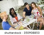 young multiracial friends at... | Shutterstock . vector #350908853