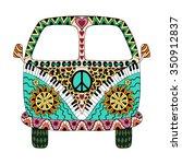 Hippie Vintage Car A Mini Van...