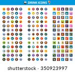 drink icon set with long shadow ... | Shutterstock .eps vector #350923997