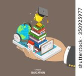 online education isometric flat ... | Shutterstock .eps vector #350925977