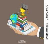 online education isometric flat ... | Shutterstock .eps vector #350925977
