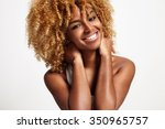 young black woman with blond... | Shutterstock . vector #350965757