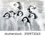 christmas penguins | Shutterstock . vector #350973263