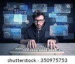 a confident young hacker... | Shutterstock . vector #350975753