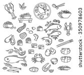 seafood and delicatessen  icons ... | Shutterstock .eps vector #350978603