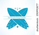 vector crossed surfing boards....   Shutterstock .eps vector #350992877