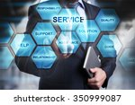 Small photo of Businessman pressing button on touch screen interface and select service. busines concept.