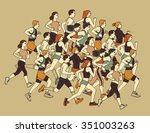 group people sport moving run... | Shutterstock .eps vector #351003263