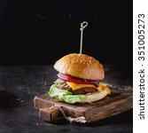 fresh homemade burger on little ... | Shutterstock . vector #351005273