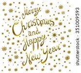 golden glowing merry christmas... | Shutterstock .eps vector #351009593