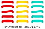 set of red and yellow ribbon... | Shutterstock .eps vector #351011747
