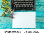 old typewriter and a blank... | Shutterstock . vector #351013037
