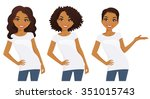 set of cute girls with... | Shutterstock .eps vector #351015743