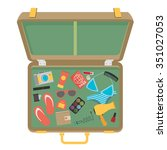 packed suitcase for summer... | Shutterstock .eps vector #351027053