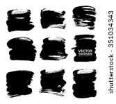 thick strokes of black paint... | Shutterstock .eps vector #351034343