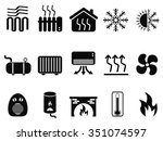 black heating icons set | Shutterstock .eps vector #351074597