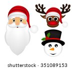 santa claus  a reindeer and a... | Shutterstock .eps vector #351089153